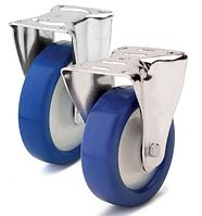 Колесо полиамид/синий полиуретан, диаметр 150 мм, с неповоротным среднеусиленным кронштейном