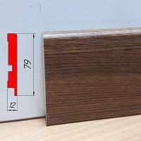 Тонкий плинтус МДФ, высотой 79 мм, 2,8 м Дуб родос тёмный