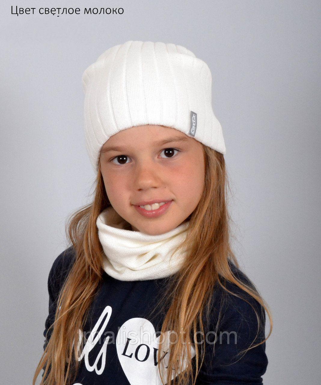 Вязаная осенняя шапка для девушек (подходит на теплую зиму)