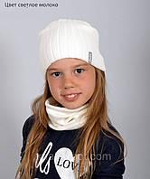 Вязаная осенняя шапка для девушек (подходит на теплую зиму), фото 1