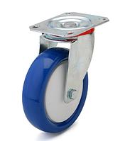 Колесо полиамид/синий полиуретан, диаметр 100 мм, с поворотным кронштейном