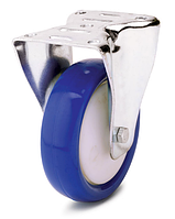 Колесо полиамид/синий полиуретан, диаметр 200 мм, с неповоротным кронштейном
