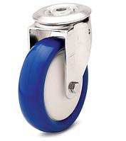 Колесо полиамид/синий полиуретан, диаметр 80 мм, с поворотным кронштейном с отверстием