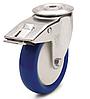 Колесо полиамид/синий полиуретан, диаметр 125 мм, с поворотным кронштейном с отверстием и фиксатором