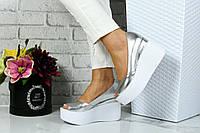 Туфли на платформе кожа, серебряные