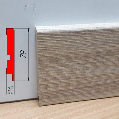 Плинтус МДФ для детской, высотой 79 мм, 2,8 м Зебрано песочный