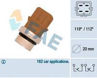 Датчик температуры охлаждающей жидкости VW T4/Caddy II 1.8-2.0 90- (4 конт.) 112-119°С, код 35580, FAE