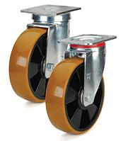 Колеса полиамид/желтый полиуретан, диаметр 200 мм с поворотным усиленным кронштейном