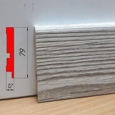 Плинтус для лофта, из МДФ, высотой 79 мм, 2,8 м Монблан грей