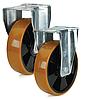 Колеса полиамид/желтый полиуретан, диаметр 200 мм с неповоротным усиленным кронштейном