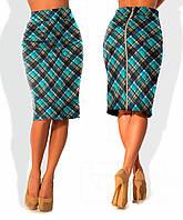 Клетчатая юбка карандаш на синем фоне Lucky(код 134)