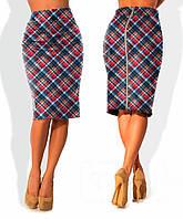 Клетчатая юбка карандаш на красном фоне Lucky(код 134)