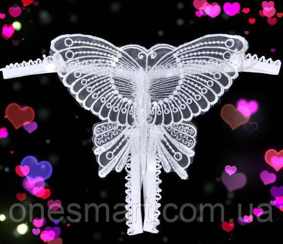Белоснежные трусики с разрезом украшенные бабочкой