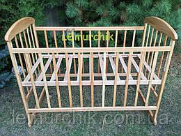 Кровать детская Наталка ольха светлая (колеса, качалка, опускание борта)