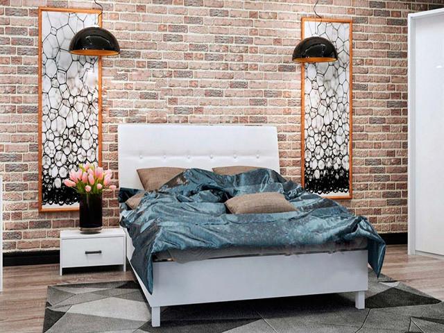 Ліжко з ДСП/МДФ в спальню Рома 1,6х2,0 підйомне м'яка спинка з каркасом Миро-Марк