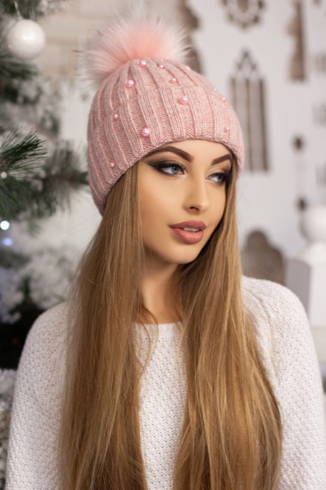 Женская шапка «Модена» Пудра