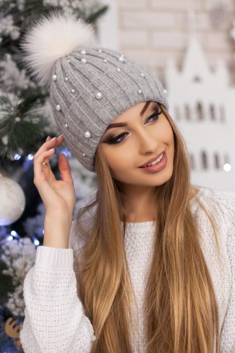 Женская шапка «Модена» Светло-серый+Белый