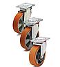 Колеса алюминий/полиуретан, диаметр 100 мм с поворотным среднеусиленным кронштейном
