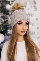 Женская шапка «Модена» Светлый кофе