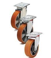 Колеса алюминий/полиуретан, диаметр 200 мм с поворотным  среднеусиленным кронштейном
