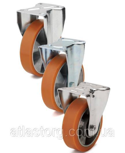 Колеса алюміній/поліуретан, діаметр 80 мм з неповоротним кронштейном