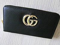Модный кошелёк Gucci экокожа черный большой значок