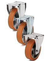 Колеса алюминий/полиуретан, диаметр 160 мм с неповоротным среднеусиленным кронштейном
