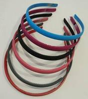 Обруч для волос прорезиненный цветной 1 см, упаковка 6 шт.