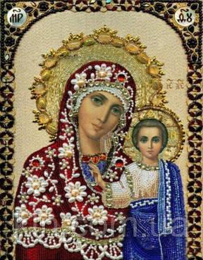 Алмазная вышивка Богородица с сыном 34 х 24 см (арт. PR724) частичная выкладка
