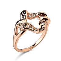 Женское кольцо с чёрной эмалью в позолоте Меандр Премия 003374, 17.0 размер