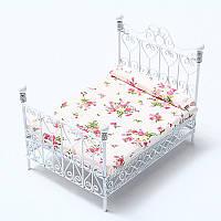 Кухонная мебель Миниатюрная мебель для спальни Металлическая кровать с матрасом Белый Европейский