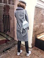 Женское серое пальто со сьемным воротником