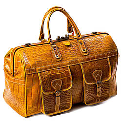 Сумка дорожная саквояж кожаный коричневый Eminsa 6519-4-2
