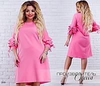 Платье а-силуэтное рукава-рюш креп 48-50,52-54,56