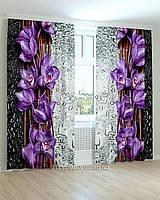 Фотошторы цветы на стекле