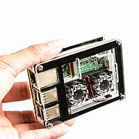 3-in-1 9 Слои Акриловые Чехол+Двойной вентилятор+Медь Теплоотвод Набор Для Raspberry Pi 3 Model B