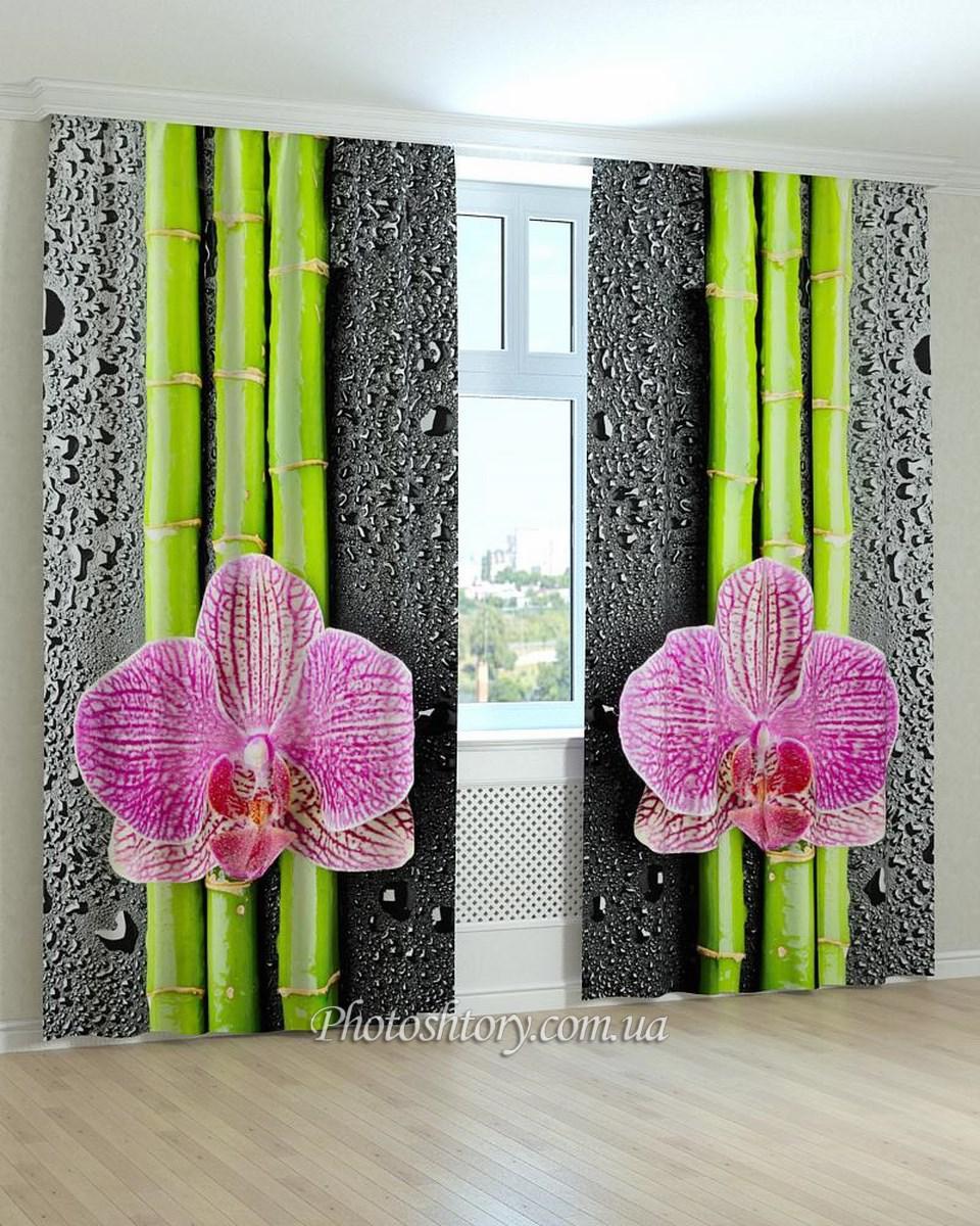 Фотошторы орхидея на бамбуке