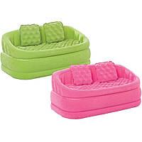 Надувной двухместный диван с мягким покрытием и 2умя подушками 107х104х69см интекс (Intex 68573)