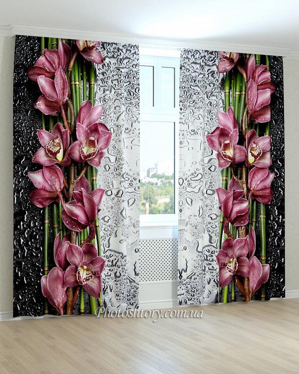 Фотошторы бамбук и орхидея