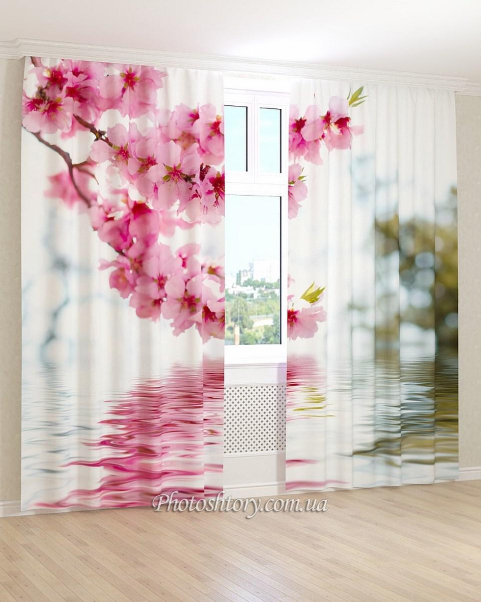 Фотошторы цветущая ветка над водой