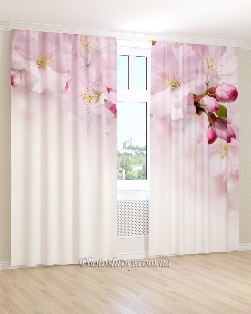 Фотошторы рожево-білі квіти