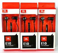 Наушники JBL E10 вакуумные с микрофоном черного цвета
