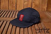 Крутая молодежная кепка бейсболка пяти панельная адидас Adidas Originals темно синяя реплика