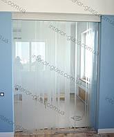 Раздвижная стеклянная дверь с перегородкой под заказ