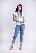 Женская футболка вышиванка Цветы синие, фото 2