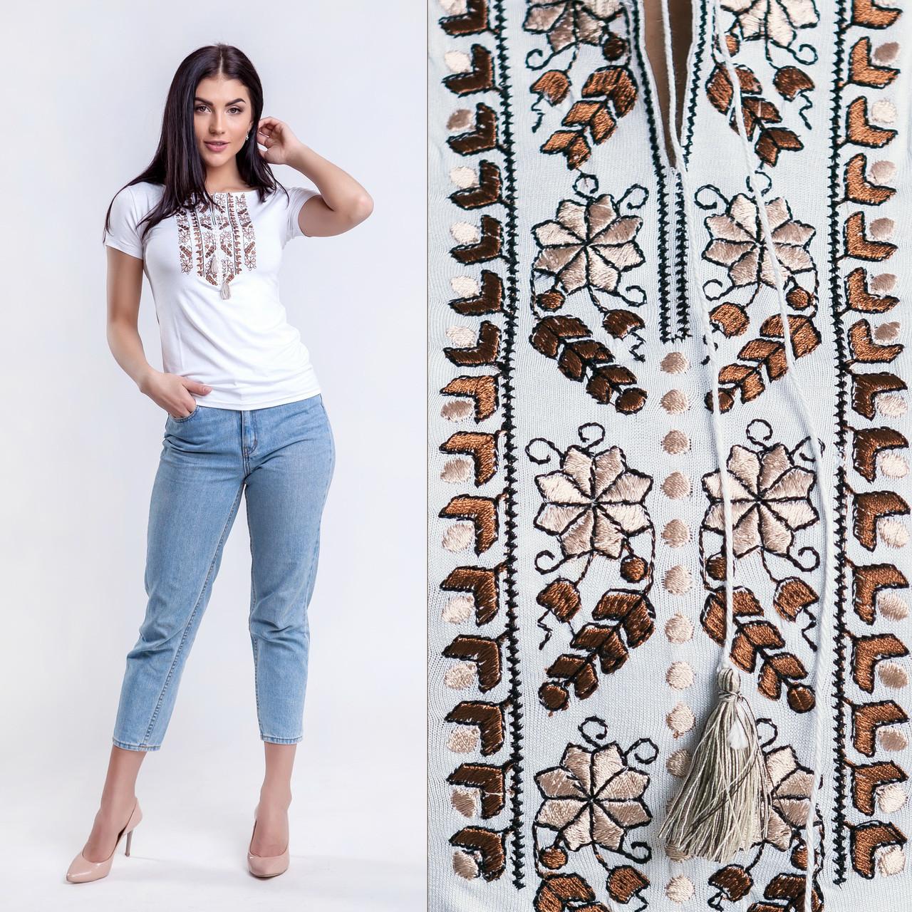 Женская футболка с вышивкой Цветы коричневые - Вишиванки Merezhka в  Хмельницком a56e8d6694e3d