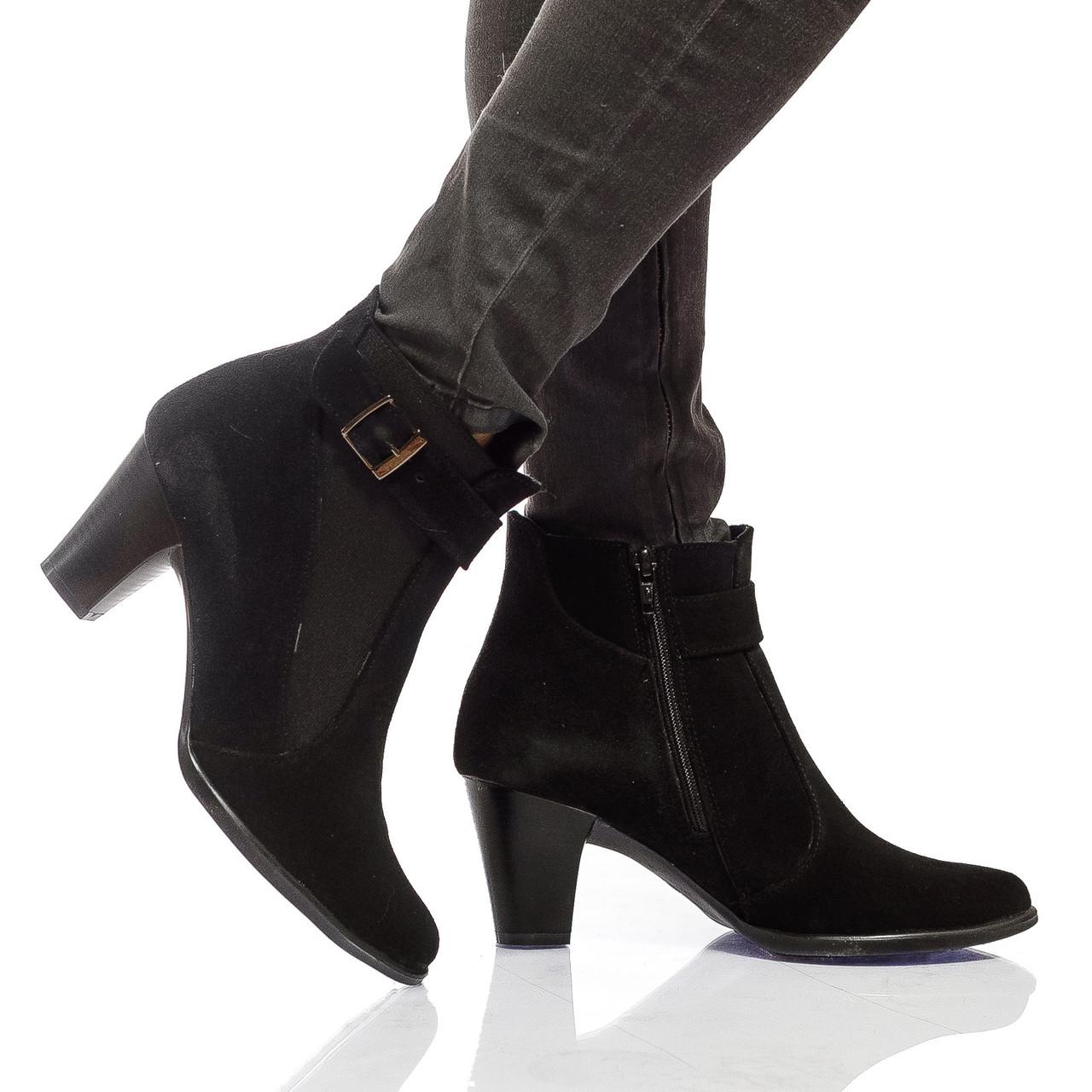 Ботинки на каблуке, из натуральной кожи, замша, с мехом на молнии. Два цвета! Размеры 36-41 модель S2606