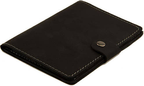 Обложка из натуральной кожи, для документов, с застежкой Black Brier ОП-3-35 черная