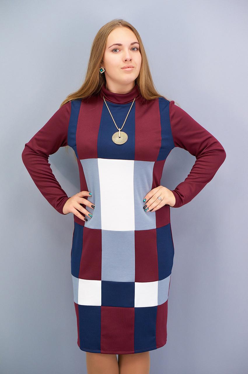Стильне ніжне жіноче плаття Дженні батал колір бордо 50 52 54 56 58 60 62 64 f16fb922e1b93