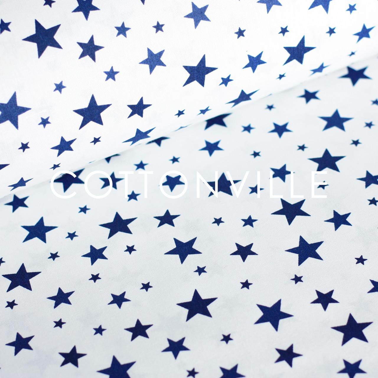 ✁ Відрізи бавовняної тканини Зоряна розсип синя на білому